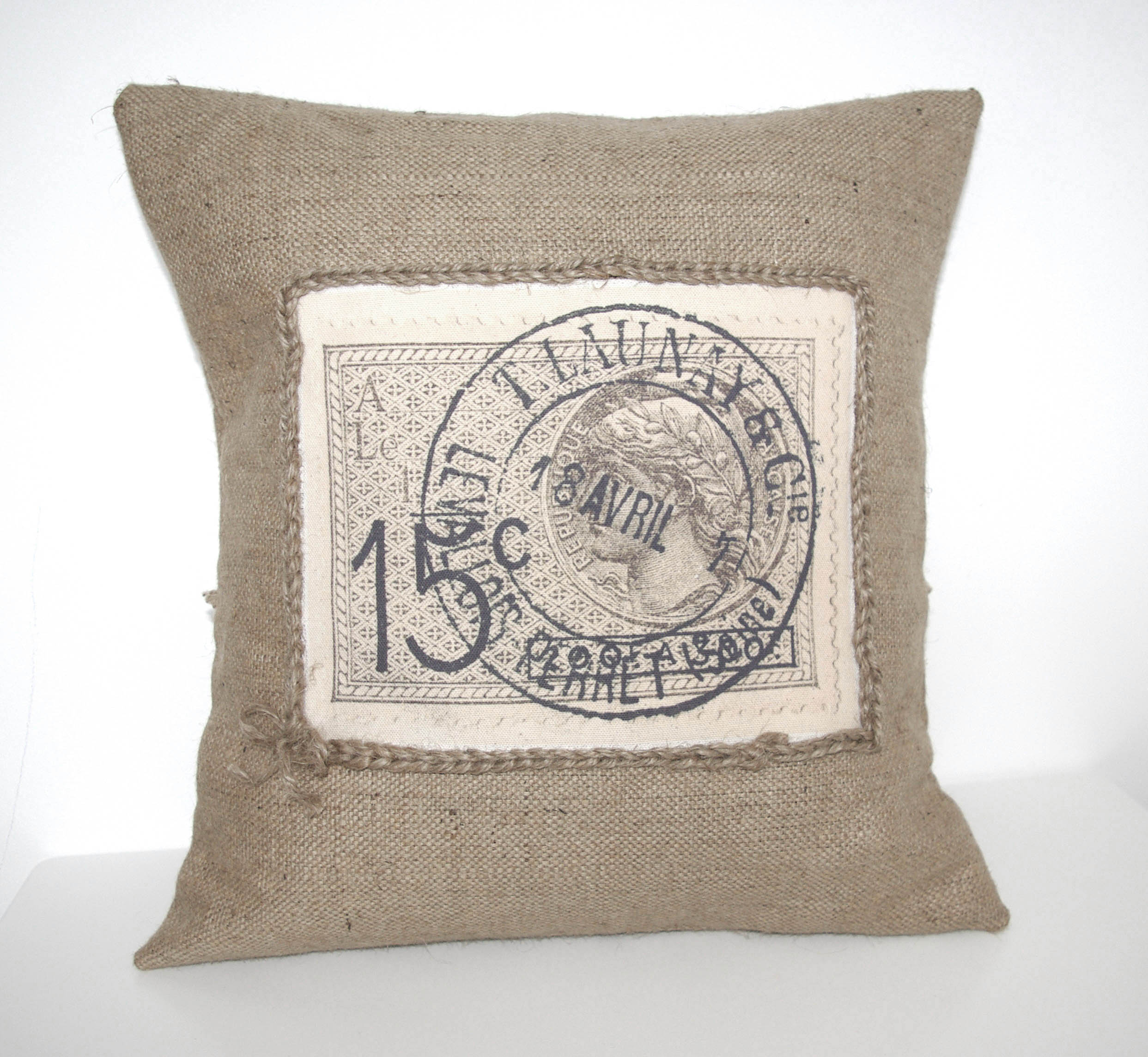 Design Canvas Pillow Cover: French Stamp Vintage Rustic Design Burlap Canvas Pillow Cover on    ,